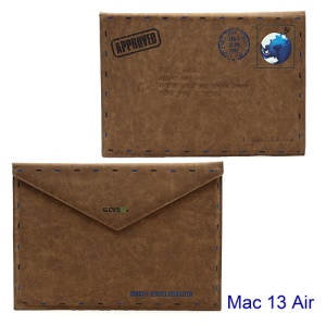 "SAMDI Retro Envelope Postcard Pouch Leather Cover for Apple MacBook Air 13.3"", Size:14.1inch x 10.1inch"