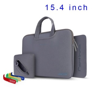 Grey Cartinoe Breath Series Zipper Sleeve Pouch for MacBook Pro 15.4 inch, Size: 36 x 27cm