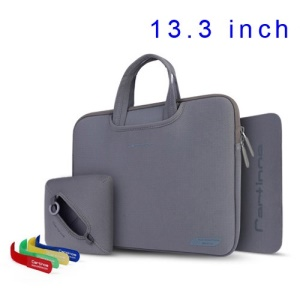 Grey Cartinoe Breath Series Zipper Nylon Notebook Handbag Case for MacBook Air Pro 13.3 inch, Size: 34 x 25cm