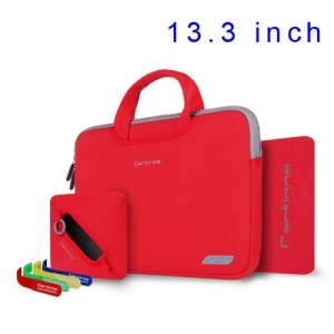 Red Cartinoe Breath Series Zipper Nylon Notebook Sleeve Case for MacBook Air Pro 13.3 inch, Size: 34 x 25cm