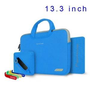 Blue Cartinoe Breath Series Zipper Nylon Notebook Bag Case for MacBook Air Pro 13.3 inch, Size: 34 x 25cm