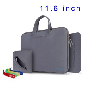 Grey Cartinoe Breath Series Zipper Nylon Notebook Handbag Case for MacBook Air 11.6 inch, Size: 30 x 20cm