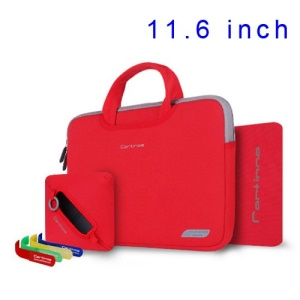 Red Cartinoe Breath Series Zipper Nylon Notebook Handbag Sleeve Case for MacBook Air 11.6 inch, Size: 30 x 20cm