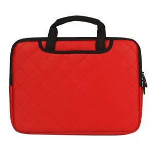 Red Soft Grid Zipper Leather Sleeve Pouch Bag for 15 inch Apple MacBook HP Dell Acer