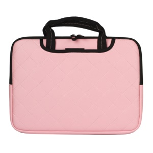 Pink Soft Grid Zipper Leather Sleeve Pouch Bag for 15 inch Apple MacBook HP Dell Acer