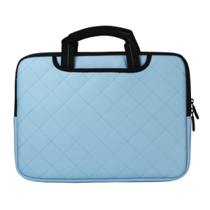 Baby Blue Soft Grid Zipper Leather Sleeve Pouch Bag for 15 inch Apple MacBook HP Dell Acer