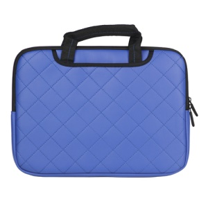 Dark Blue Soft Grid Zipper Leather Sleeve Pouch Bag for 15 inch Apple MacBook HP Dell Acer