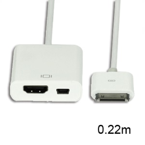 Apple 30pin to HDMI with Mini 5 Pin Digital AV Adapter Cable, Length:0.22m
