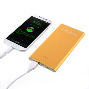 Gold 10000mAh Slim Metallic External Backup Battery Charger for iPad iPhone Samsung HTC Sony