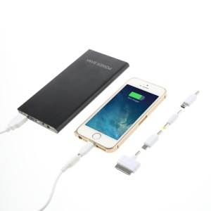 Ultra-thin Brushed Aluminium Power Bank for iPhone iPod iPad Smartphones Tablets 12000mAh - Black