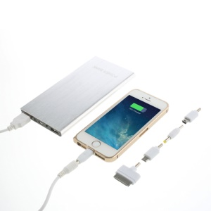 Ultra-thin Brushed Aluminium Power Bank for iPhone iPod iPad Smartphones Tablets 12000mAh - Silver