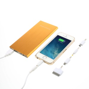 Ultra-thin Brushed Aluminium Power Charger for iPhone iPod iPad Smartphones Tablets 12000mAh - Gold