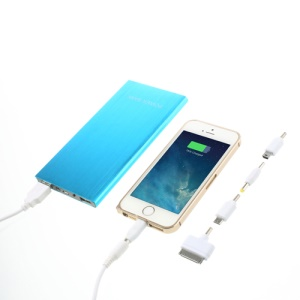Ultra-thin Brushed Aluminium Power Bank Charger for iPhone iPod iPad Smartphones Tablets 12000mAh - Blue