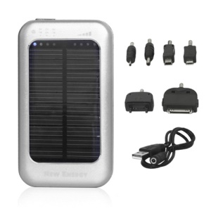 5000mAh Solar Mobile Power Battery for iPhone iPad Samsung Sony Nokia Motorola Etc - Silver