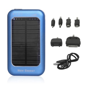 5000mAh Solar Mobile Power Charger for iPhone iPad Samsung Sony Nokia Motorola Etc - Blue