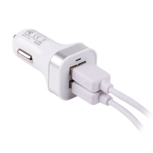 Momax XC Series Dual USB Outputs Car Charger for iPhone iPod Samsung HTC Sony Smartphone Etc - White