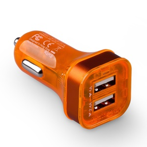 Momax Colorful Dual-USB Car Charger for iPad iPhone iPod Samsung Tab HTC LG Smartphone Etc - Orange