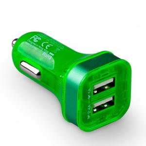 Momax Colorful Dual-USB Car Charger for iPad iPhone iPod Samsung Tab HTC Sony Smartphone Etc - Green