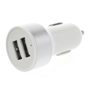 Mini 2.1A Dual-USB Car Charger for iPad iPhone iPod Samsung HTC Sony Etc - White / Silver
