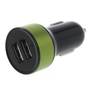 Mini Two-USB 2.1A Car Charger for iPad iPhone iPod Samsung HTC Sony Etc - Black / Green