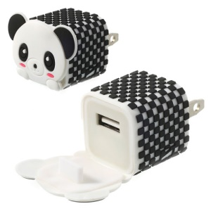 US Plug Cute Panda USB Home Travel Power Charger Adapter for iPhone Samsung HTC LG