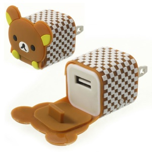 US Plug Adorable Rilakkuma USB Travel Charger Adapter for iPhone Samsung HTC LG