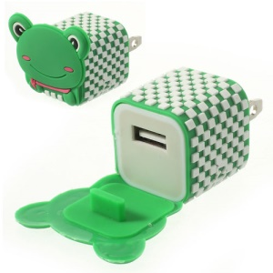 US Plug Lovely Frog USB Power Charger Adapter for iPhone Samsung HTC LG