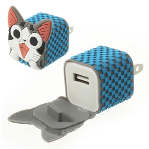 US Plug Cute Cat USB Travel Charger Adapter for iPhone Samsung HTC LG
