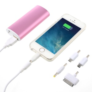 5600mAh Metallic External Power Bank Battery Charger with LED Light for iPhone iPod Samsung Sony LG - Pink