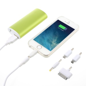 5600mAh Metallic External Power Bank Charger with LED Light for iPhone iPod Samsung Sony LG - Green