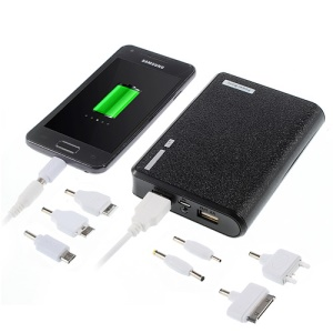 Wallet Style Dual USB Universal Mobile Battery Power Bank 12000mAh w/ LED Flashlight - Black