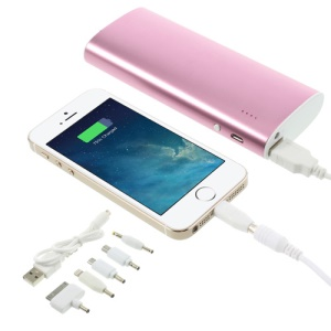 13000mAh Metal External Mobile Power Bank Charger with LED Light for iPhone iPad iPod Samsung Sony LG - Pink