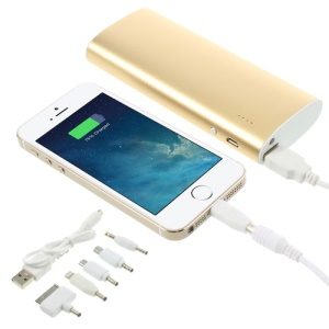 13000mAh Metal Power Bank Mobile Charger with LED Light for iPhone iPad iPod Samsung Sony LG - Gold