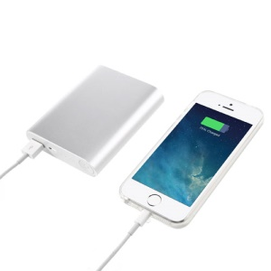 10000mAh 2.1A Metallic Power Bank Battery Charger for iPhone iPad iPod Samsung Sony LG - Silver