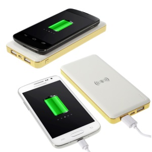 Qi Wireless Charging Pad 10000mAh Power Pack Bank with 2 USB Port for iPhone Samsung LG Nokia Sony - White