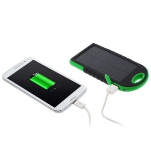 YD-T011 5000mAh Solar Power Battery Charger for iPhone iPod Samsung Sony etc - Green / Black