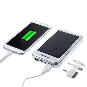 48000mAh Solar Panel Backup Battery Charger for iPhone iPod iPad Smartphones Tablets - Silver
