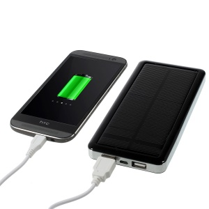 12800mAh Dual USB Solar Power Charger for iPhone iPad Samsung Sony Mobile Phone Tablet PC Etc - Black