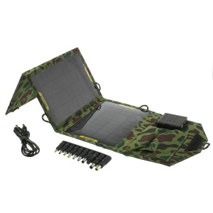 Camouflage 10.5 Watts Folding Outdoor Solar Power Charger for iPhone iPad Samsung Sony Tablets SLR Etc