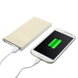 13800mAh Glittery Powder Cloth Skin H888 Dual USB Backup Power Bank for iPad iPhone Samsung Sony & Tabs Etc - White