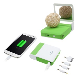 2A Power Pack Charger w/ Make-up Mirror 11200mAh for iPhone iPad Samsung Nokia & Tabs Etc. - White / Green