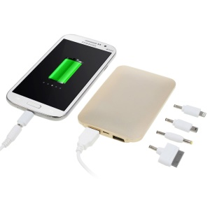 Aluminium Skin Two-USB Backup Power Pack 5000mAh for iPhone iPad Samsung LG & Tabs & Digital Devices - Champagne