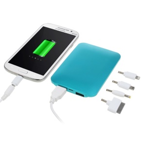 Aluminium Skin 5000mAh Two-USB Mobile Power Bank for iPhone iPad Samsung Nokia & Tabs & Digital Devices - Blue