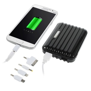 11200mAh Traveling Case Dual USB Power Bank for iPhone iPad Samsung LG & Tabs & Digital Devices - Black
