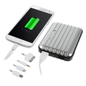 11200mAh Traveling Case Dual USB External Power Bank for iPhone iPad Samsung LG & Tabs & Digital Devices - Silver
