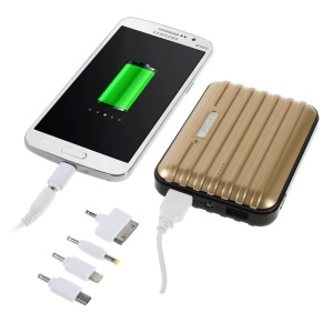 11200mAh Traveling Case Dual USB Power Bank Charger for iPhone iPad Samsung LG & Tabs & Digital Devices - Champagne