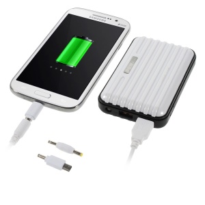Traveling Case 8800mAh Two-output Power Bank Charger for iPhone iPad Samsung HTC & Tabs & Digital Devices Etc - White