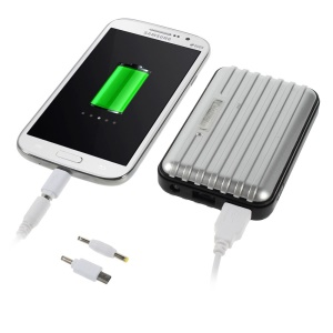 Traveling Case 8800mAh Two-output External Power Pack for iPhone iPad Samsung LG & Tabs & Digital Devices Etc - Silver