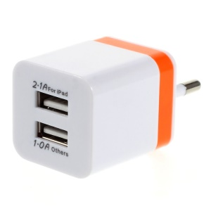 EU Plug Dual USB Wall Charger Adapter for iPad Mini iPhone Samsung Sony LG - Orange