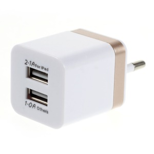 EU Plug Dual USB Travel Wall Charger Adapter for iPad Mini iPhone Samsung Sony LG - Champagne